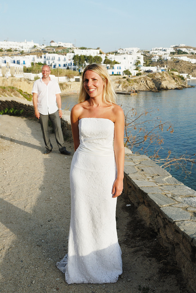 Bride and Groom at Mykonos Bay